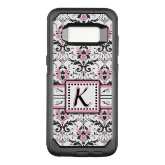Black and Pink Damask Monogram OtterBox Commuter Samsung Galaxy S8 Case