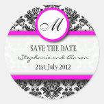 Black and Pink Damask Monogram Wedding Sticker