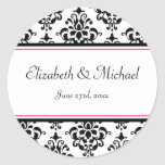 Black and Pink Damask Round Wedding Favour Label