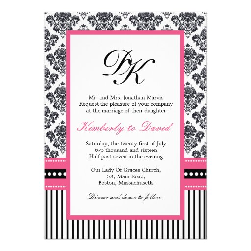 Black and Pink Damask Stripes and Dots Invitations