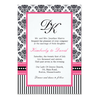 "Black and Pink Damask Stripes and Dots Invitations 5"" X 7"" Invitation Card"