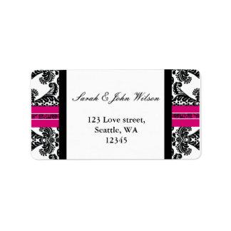 Black and Pink Damask Wedding Address Label