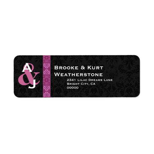 Black and Pink Damask Wedding Monogram Ver D001 Return Address Label