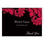 Black and Pink damask wedding Thank you card