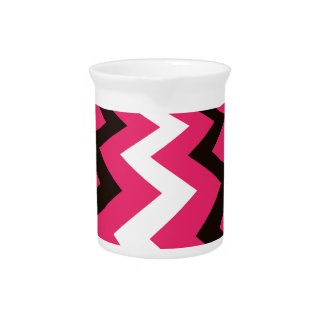 Black and Pink Fast Lane Chevrons Beverage Pitchers