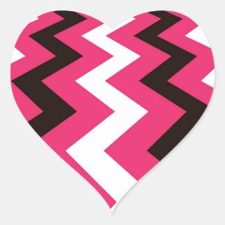 Black and Pink Fast Lane Chevrons Heart Sticker