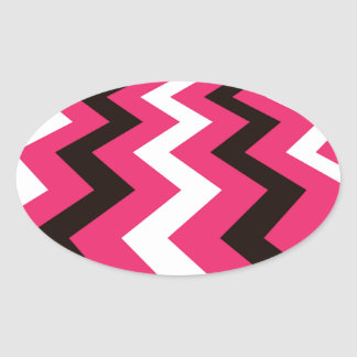Black and Pink Fast Lane Chevrons Oval Sticker