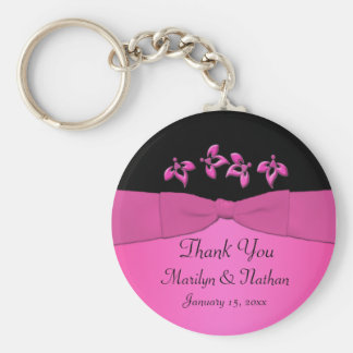 Black and Pink Floral Keychain
