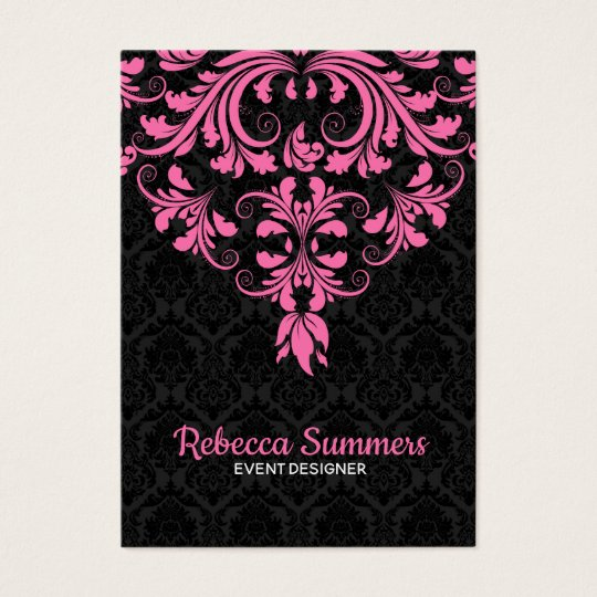 Black And Pink Floral Lace Business Card