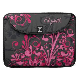 Black and Pink Floral Rickshaw Laptop Sleeve MacBook Pro Sleeve