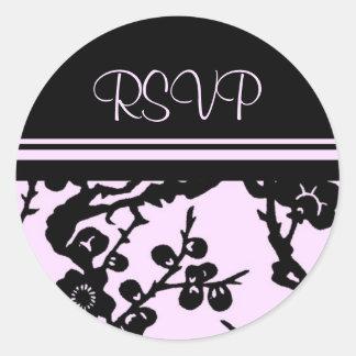 Black and Pink Floral RSVP Envelope Seals Round Sticker