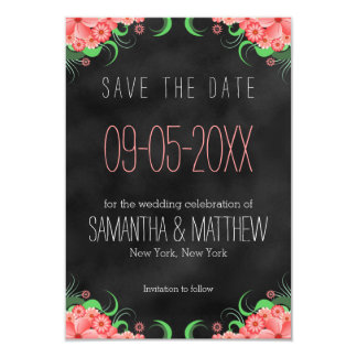 Black and Pink Floral Save The Date Announcements