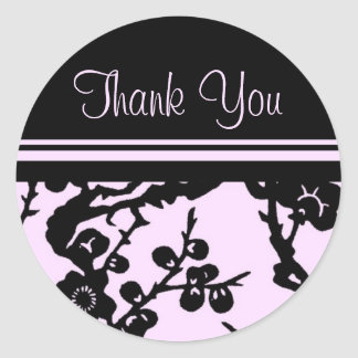 Black and Pink Floral Thank You Envelope Seals Round Sticker