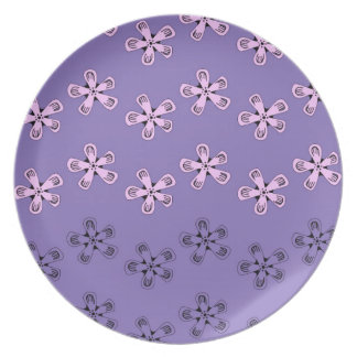 Black and pink flowers plate