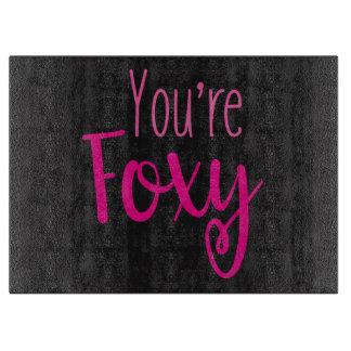 Black and Pink Foxy Cutting Board