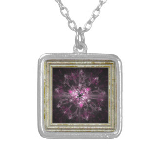 Black And Pink Fractal Silver Plated Necklace