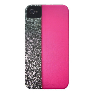 Black and Pink Glitter Blackberry Cover iPhone 4 Case-Mate Case