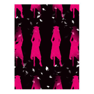 Black and Pink Grad Girl Silhouettes II Postcard