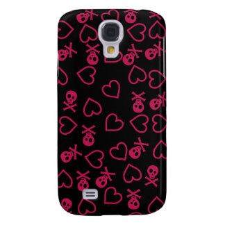 Black and pink hearts and skulls galaxy s4 cover