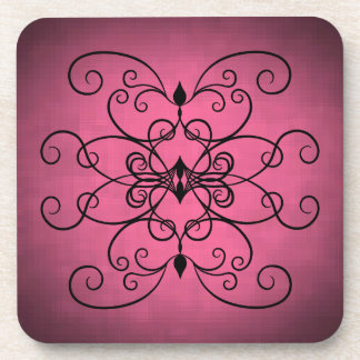Black and pink hearts and swirls coasters