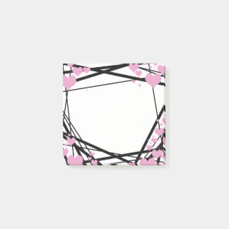 Black and Pink Hearts Decoration Post-it Notes