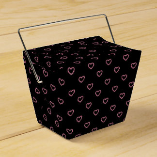 Black And Pink Hearts Polka Dot Pattern Favor Box