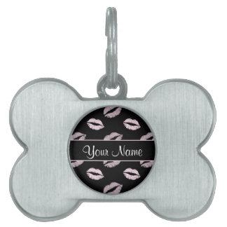 Black and Pink Kisses Pet Name Tag