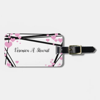 Black and Pink Monogram Decoration Luggage Tag
