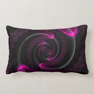 Black and Pink Neon Fractal Spiral Lumbar Cushion