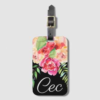 Black and Pink Painted Watercolor Flowers Monogram Luggage Tag