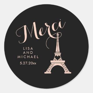 Black and Pink Paris Eiffel Tower Wedding Merci Classic Round Sticker