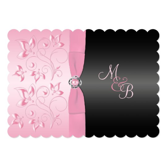 Black and Pink Pearl Loveknot Floral Invitation