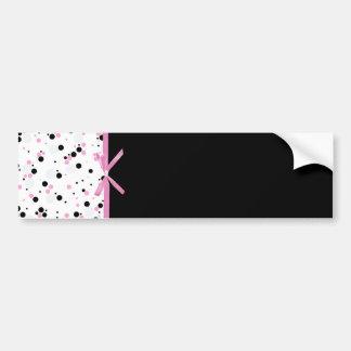 Black and Pink Polka Dot Design Bumper Sticker