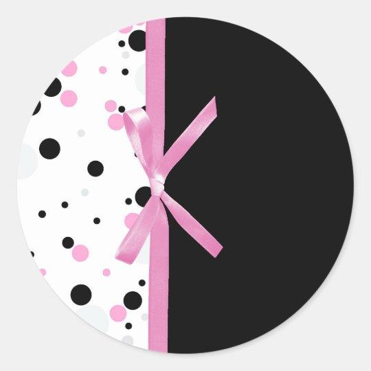 Black and Pink Polka Dot Design Classic Round Sticker