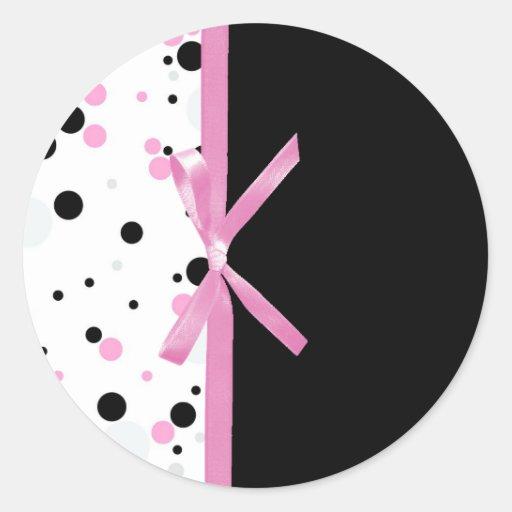 Black and Pink Polka Dot Design Round Sticker