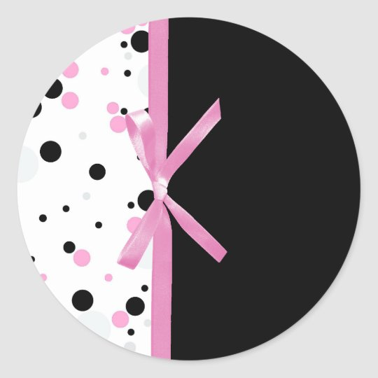 Black and Pink Polka Dot Design Round Sticker
