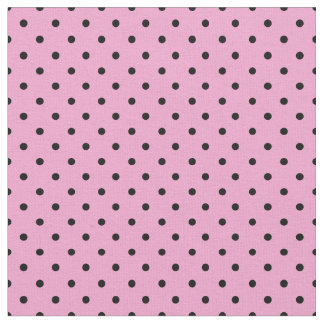 Black and Pink Polka Dot Fabric, Small Polka Dots Fabric