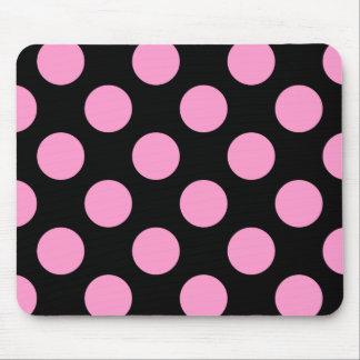 Black and Pink Polka Dot Mousepad