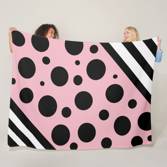 Black and Pink Polka Dots and Stripes Blanket
