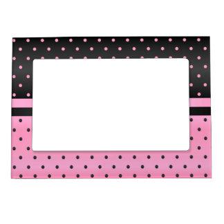 Black and Pink Polka Dots Magnetic Frame