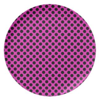 Black and Pink Polka Dots Plates