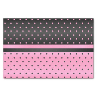 Black and Pink Polka Dots Tissue Paper