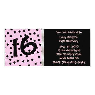 Black and Pink Polkadot Birthday Invitation