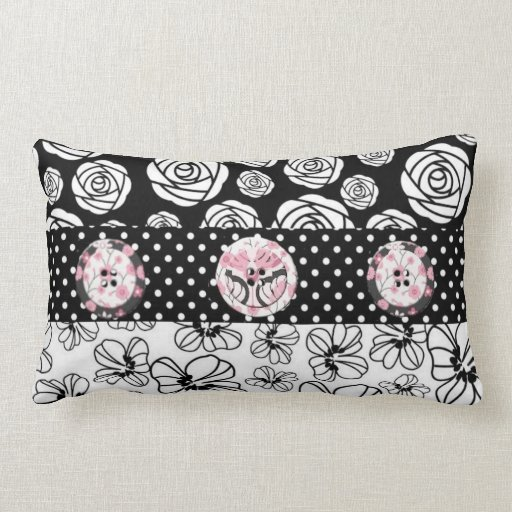 Black and Pink Polkadots Buttons Pillow