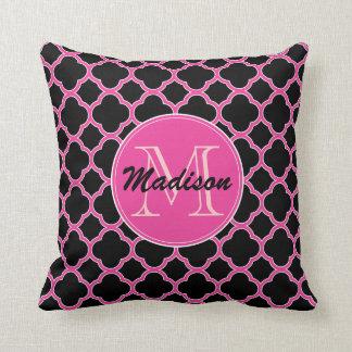 Black and Pink Quatrefoil Monogram Throw Pillow