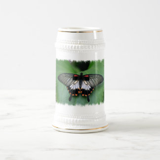 Black and Pink Swallowtail Butterfly Beer Stein Mug