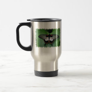 Black and Pink Swallowtail Butterfly Travel Mug
