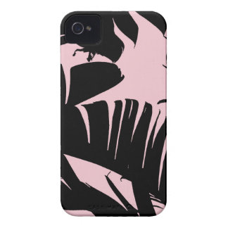 Black and Pink Tropical Banana Leaves Pattern iPhone 4 Covers