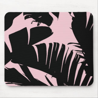 Black and Pink Tropical Banana Leaves Pattern Mouse Pad