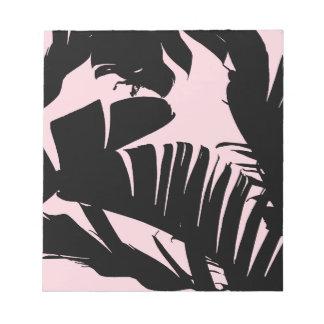 Black and Pink Tropical Banana Leaves Pattern Notepad
